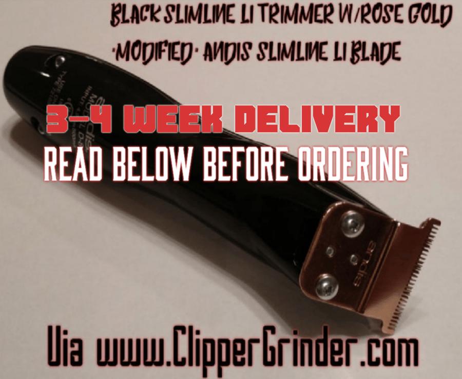 """Image of (3-4 Week Delivery/Pre-Order)Black Slimline Pro Li Trimmer W/Rose-Gold """"Modified"""" Blade"""