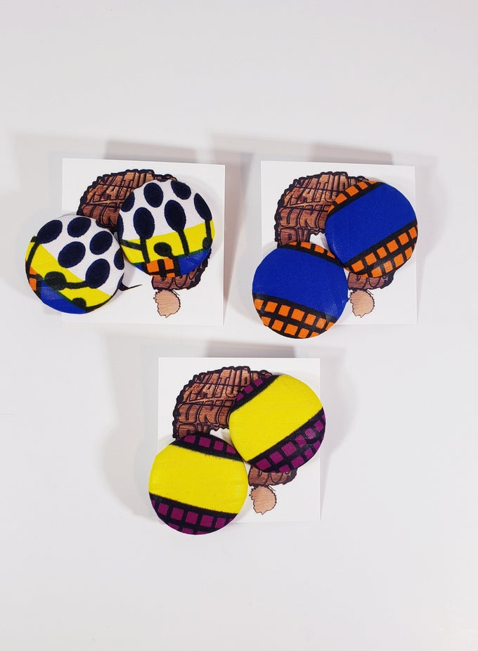 Image of Funky Print Button Earrings