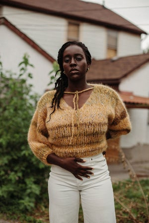 Image of Dryden Mohair Sweater (shown in ochre varigated - more colours)