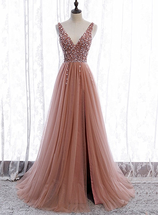 Pink Tulle Long Slit Prom Dress with Sparkle Beadings, Pink Evening Gown