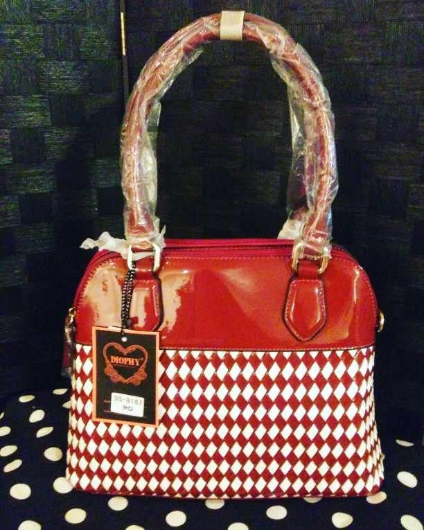 Image of Red & White Handbag
