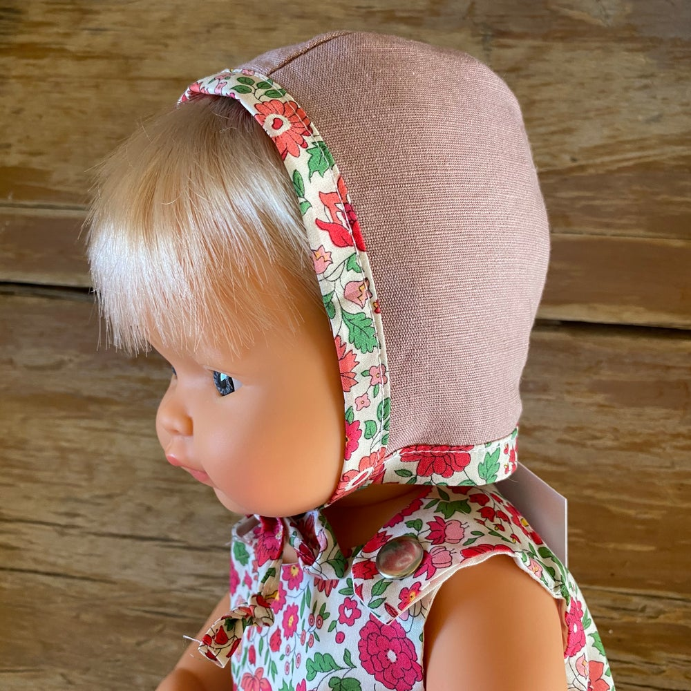 Image of Liberty bonnet to suit 38cm Miniland Doll - Danjo Red