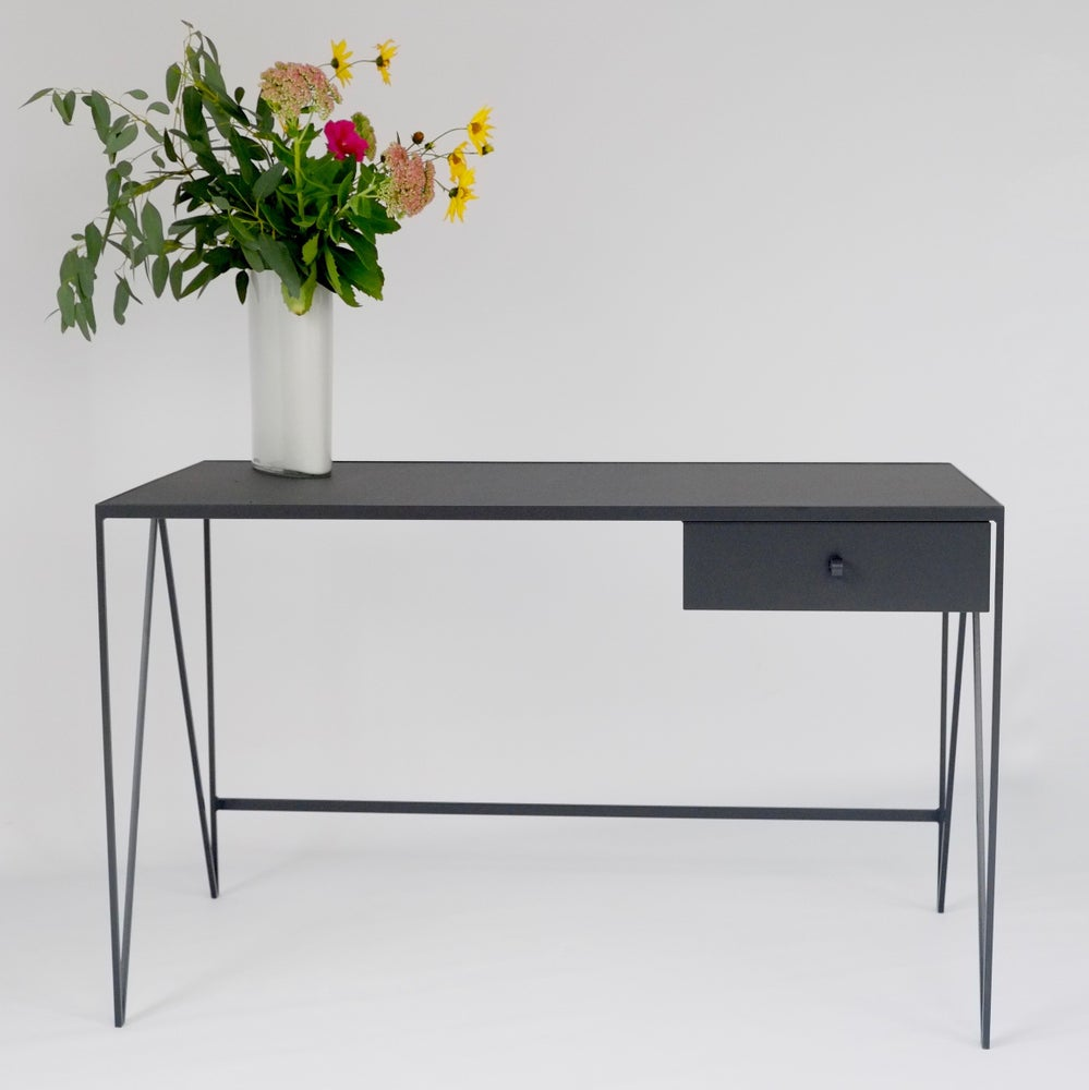 Image of Large Study Desk with Natural Linoleum Top & Drawer