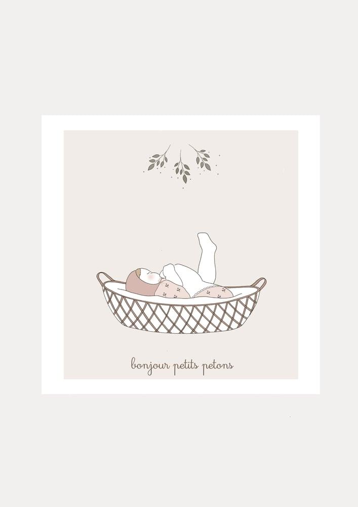 Image of Carte Bonjour petits petons fille