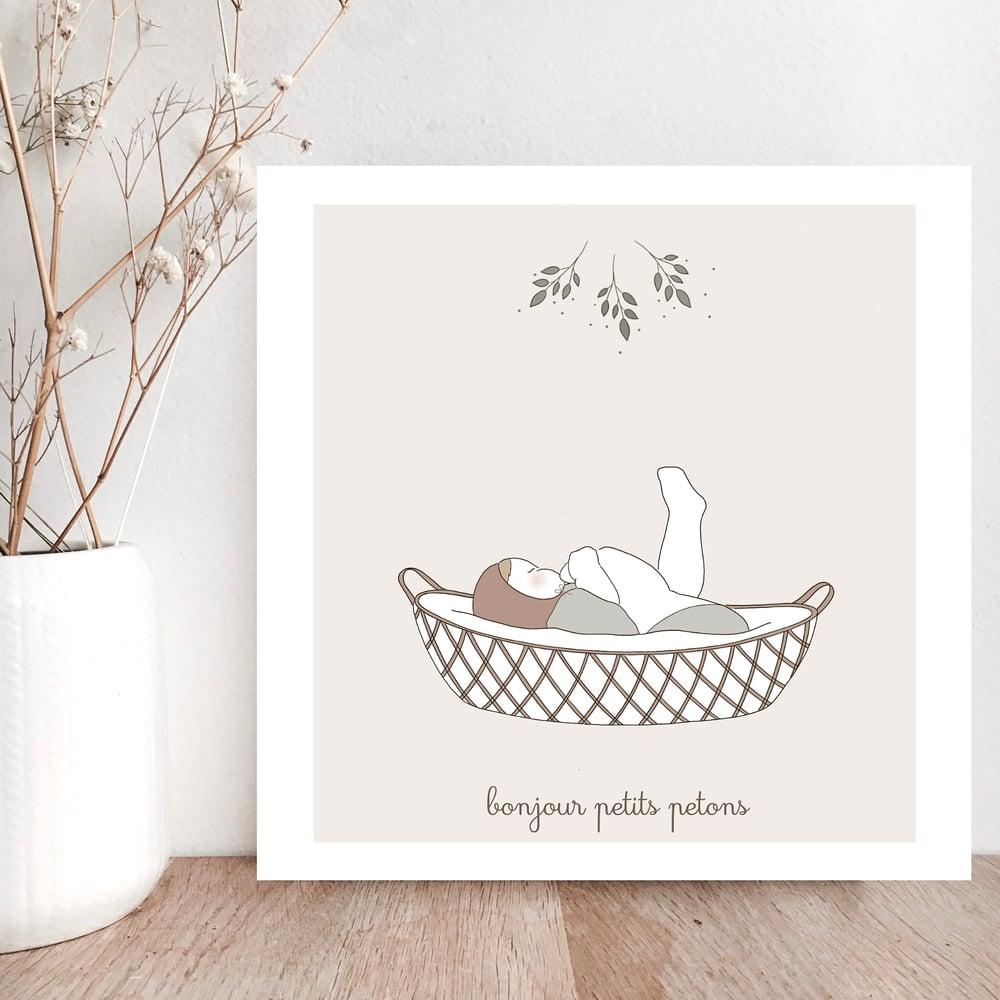 Image of Carte Bonjour petits petons garçon
