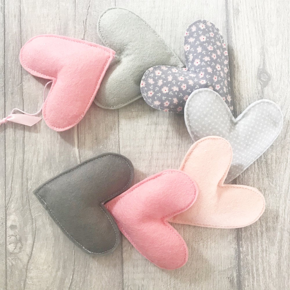 Image of Pink and Grey Heart Garland
