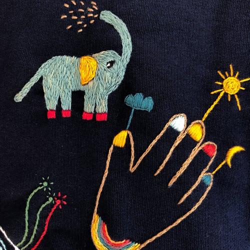 Image of Hybrid animals - Damaja Kids sweatshirt / one of a kind, original hand embroidery on organic cotton