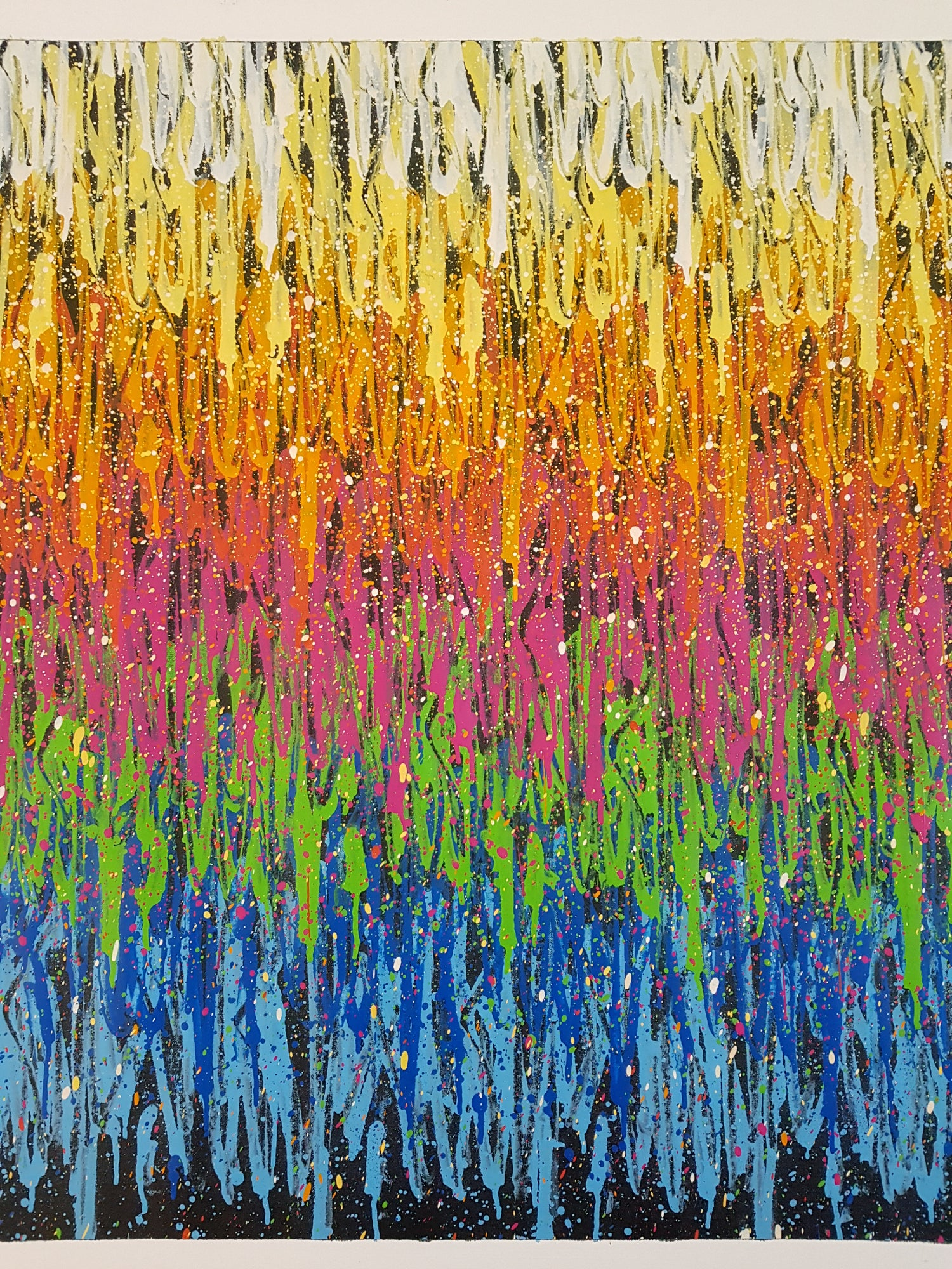 """Image of SEEN """"DRIPPING MULTI TAGS"""" HAND SPRAYED CANVAS - SUPER SIZED 246 CM X 101 CM"""