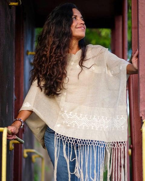 Image of Earthy color Guatemalan handmade shawl