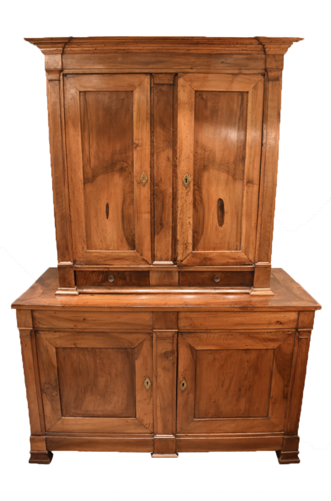 Image of Early 19th Century French Walnut Buffet Deux Corps