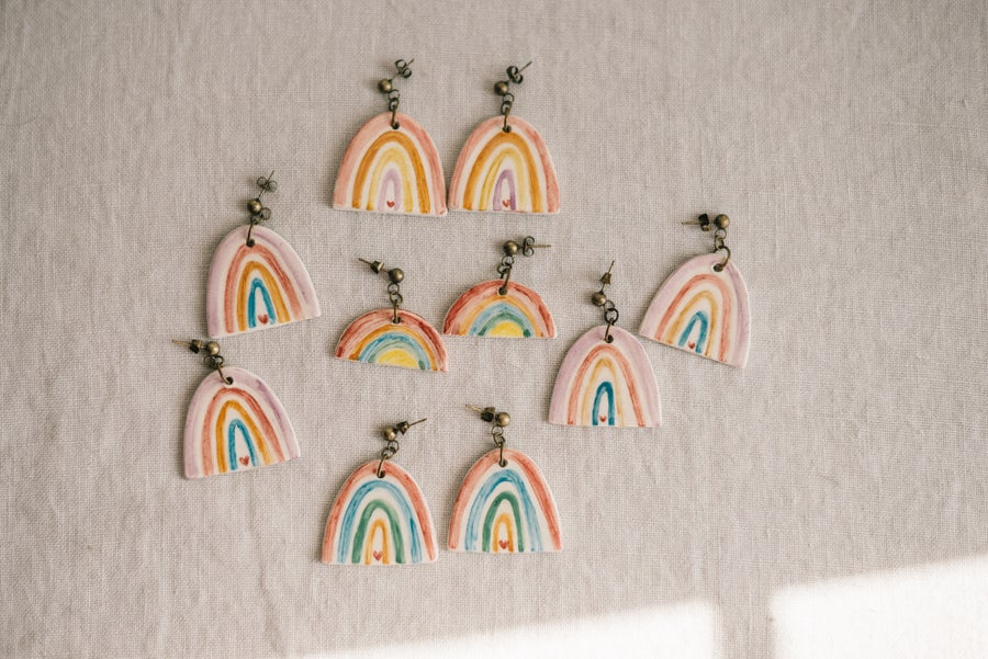 Image of CLAY EARRINGS: Molelo BOHO RAINBOW