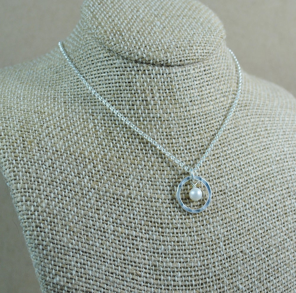 Image of Pearl Halo Pendant - sterling silver