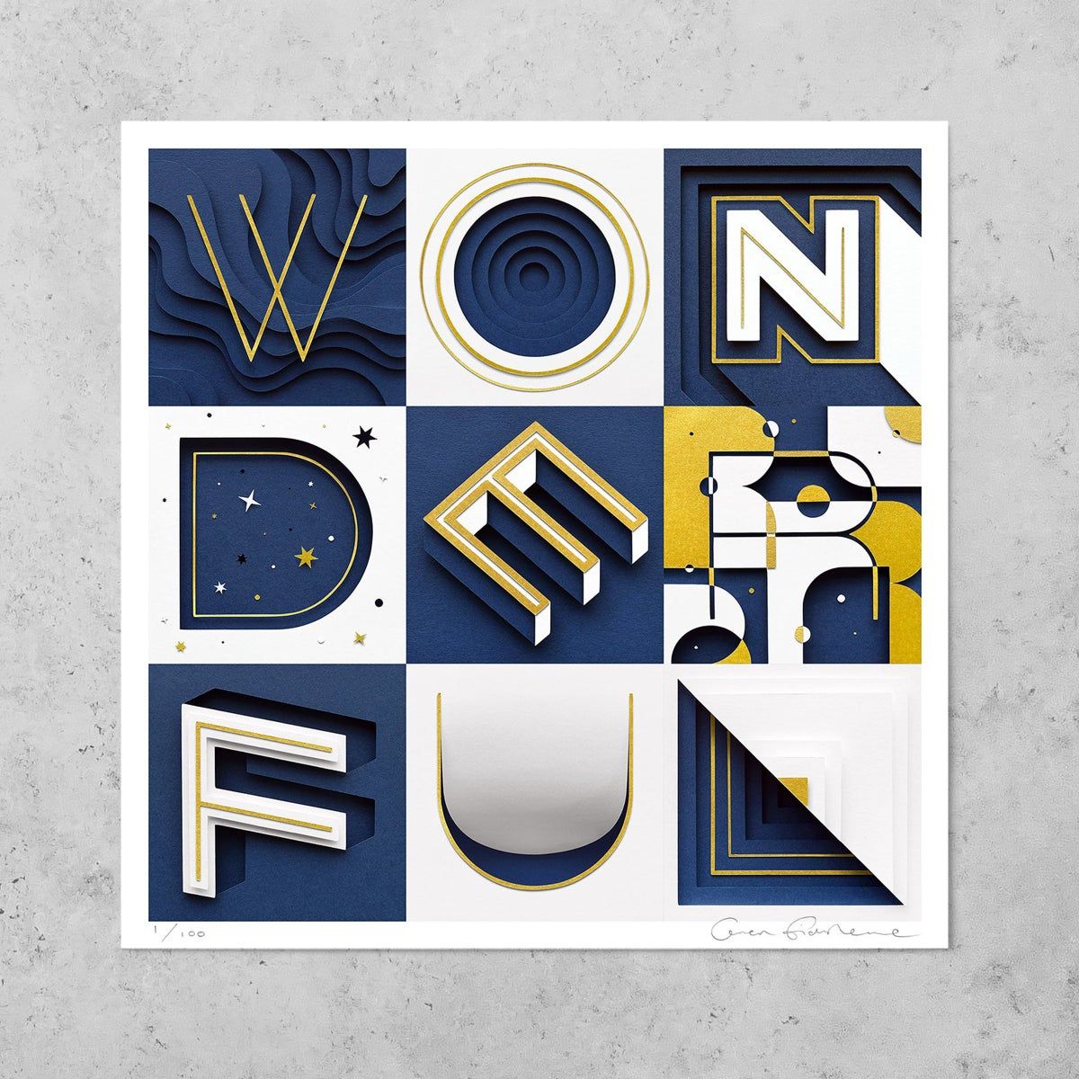 Image of Wonderful – Limited Edition Gold Foiled Print