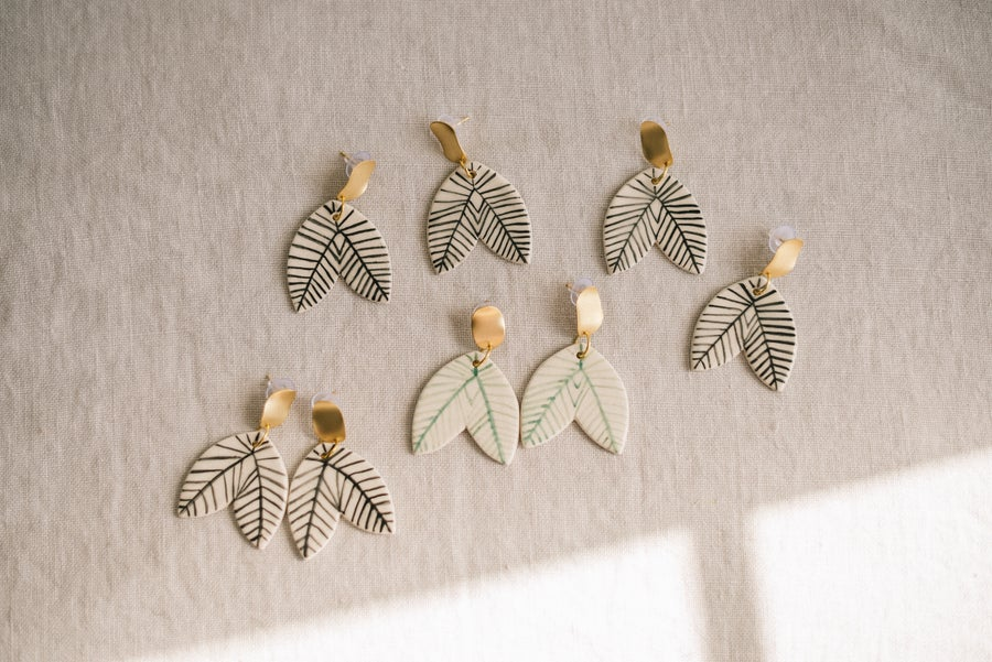 Image of CLAY EARRINGS: Modelo Boho Leafs