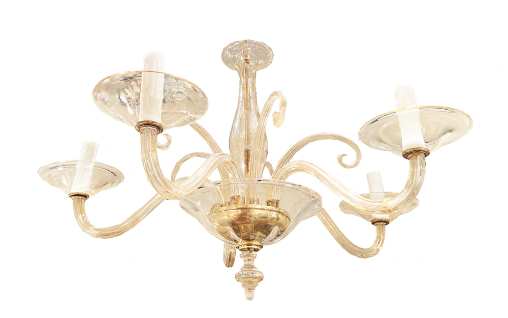 Image of Mid-Century Murano Glass Chandelier With Brass Accents