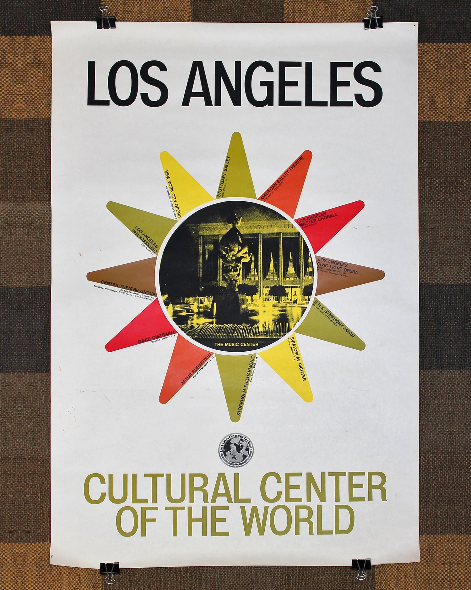 Original Vintage Poster Los Angeles TWA - The Music Center ca. 1968