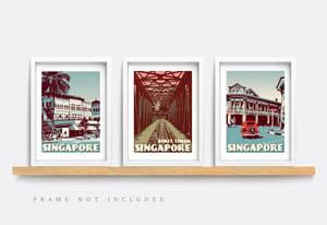 Image of Vintage Poster Singapore - Raffles Hotel Blue - Fine Art Print