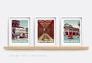 Image of Vintage poster Singapore - Joo Chiat Road Blue - Fine Art Print