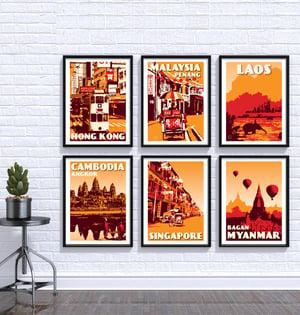 Image of Vintage poster Cambodia Cambodge - Angkor Wat Orange - Fine Art Print