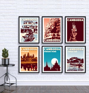 Image of Vintage poster Cambodia - Phnom Penh Blue - Fine Art Print
