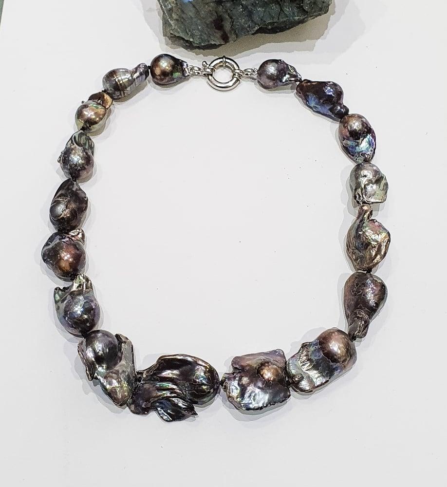 Image of Black Baroque Pearl Necklace
