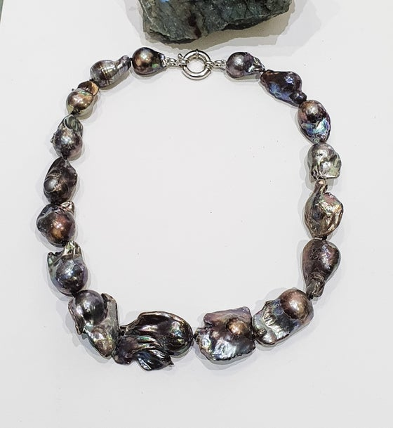 Image of Black Baroque Pearl Necklace