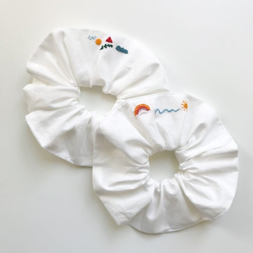 Image of Rainbow - Hand embroidered and Handmade Scrunchies by Damaja from dead stock Cotton fabric