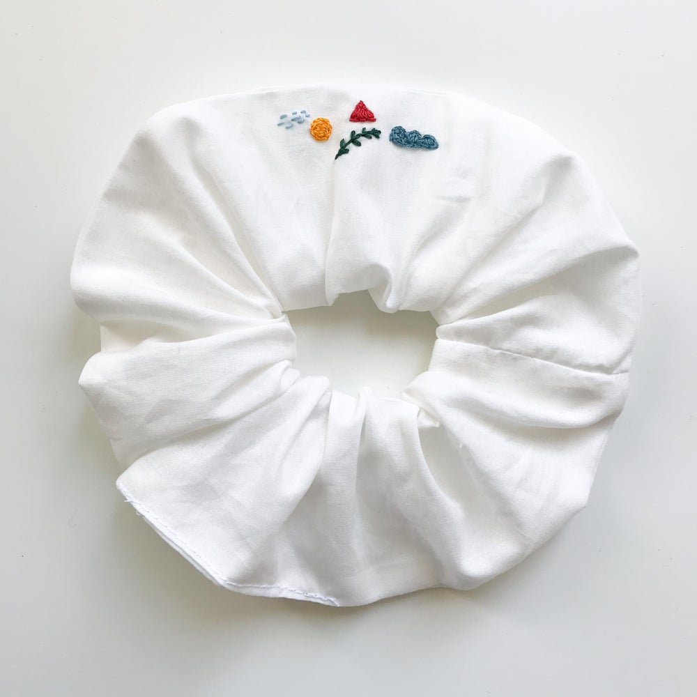 Image of Elements - Hand embroidered and Handmade Scrunchies by Damaja from dead stock Cotton fabric