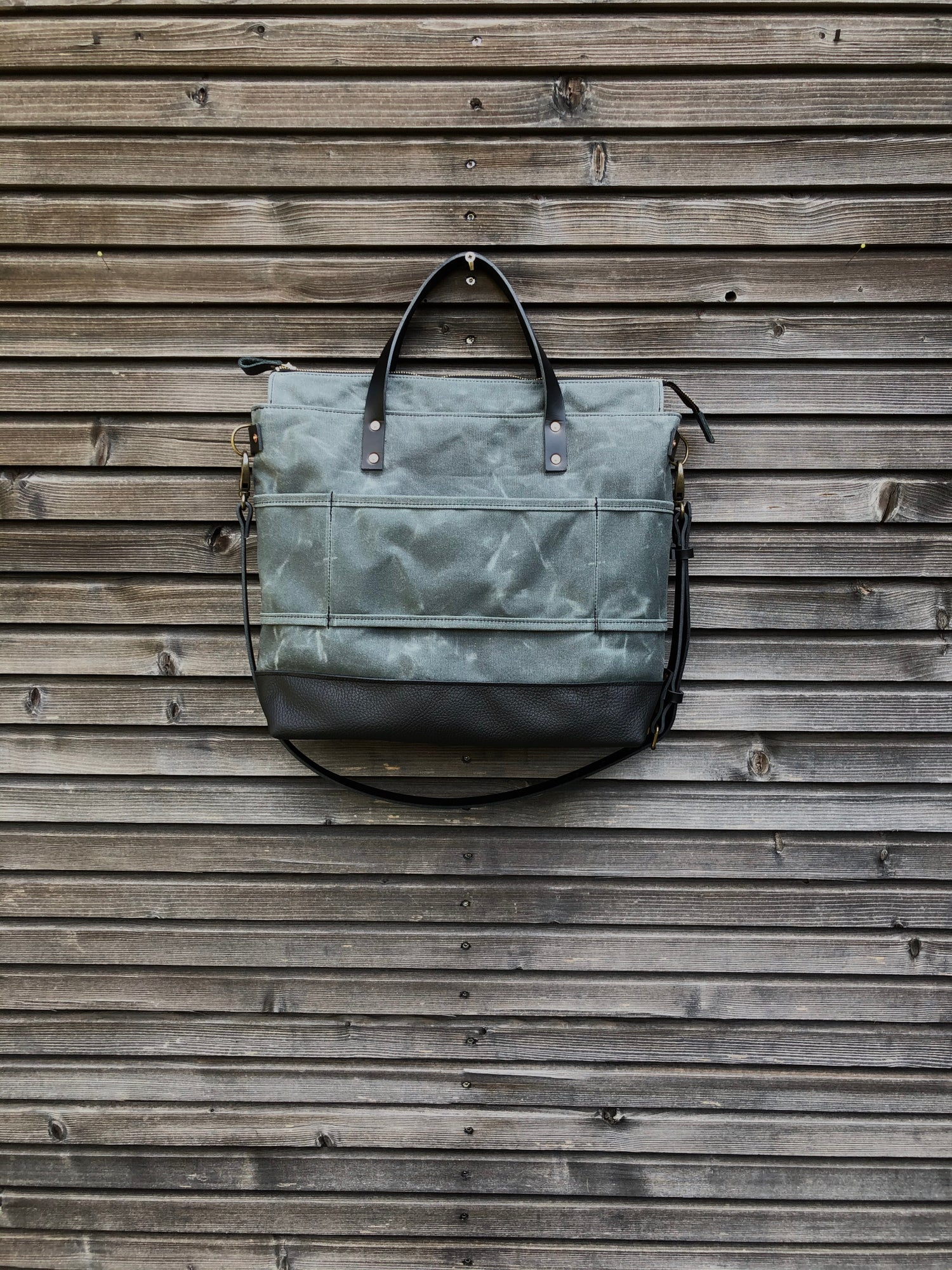 Image of Gray waxed canvas tote bag / office bag with luggage handle attachment leather handles and shoulder