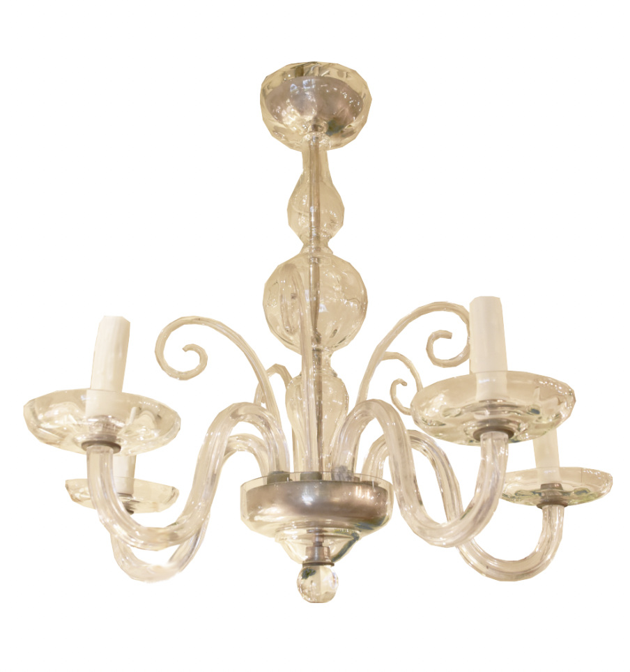 Image of Italian Mid-Century Murano Glass Chandelier With Chrome Accents