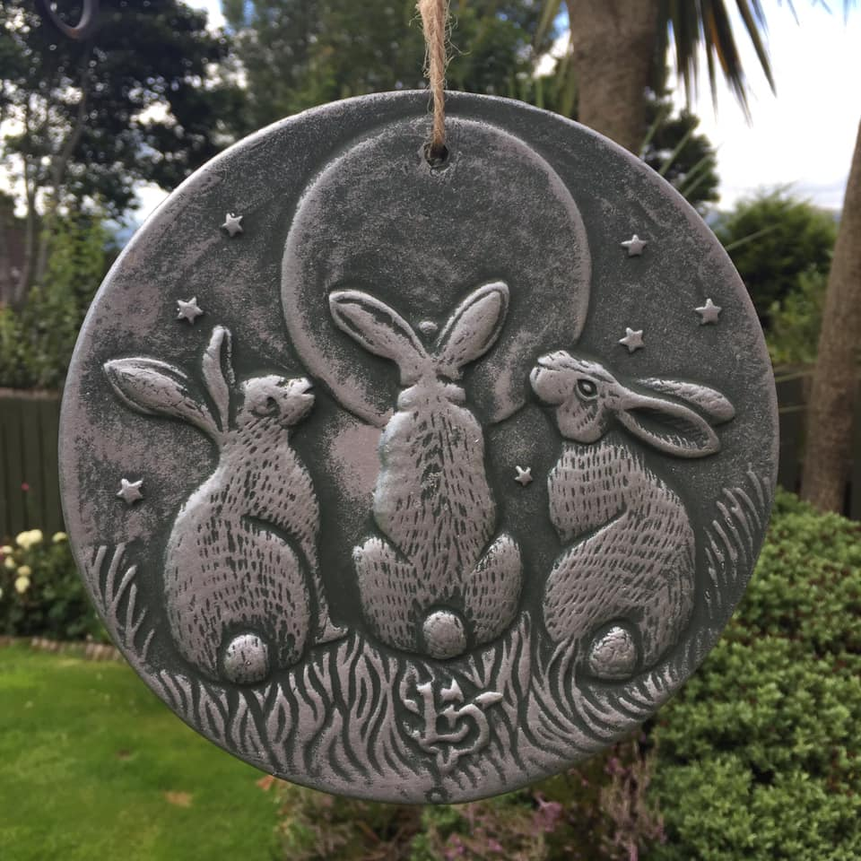 Moon Gazing Triple Hares Plaque