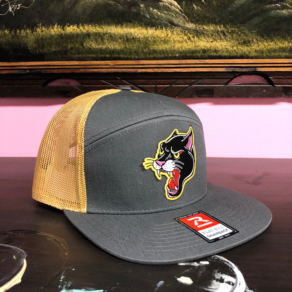Image of Panther Hat- Grey/Mustard