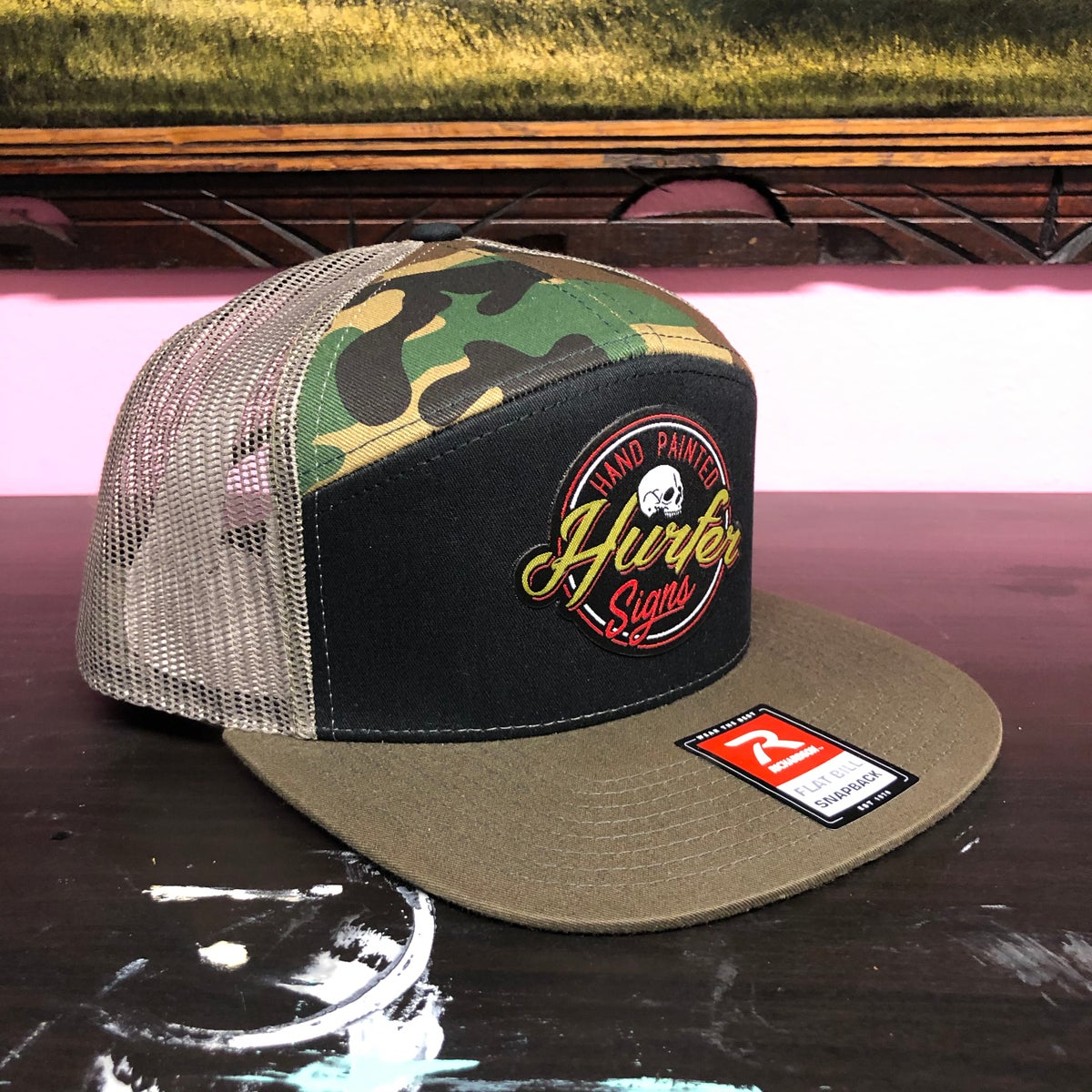 Image of Hurfer Logo Hat- Camo 7 Panel