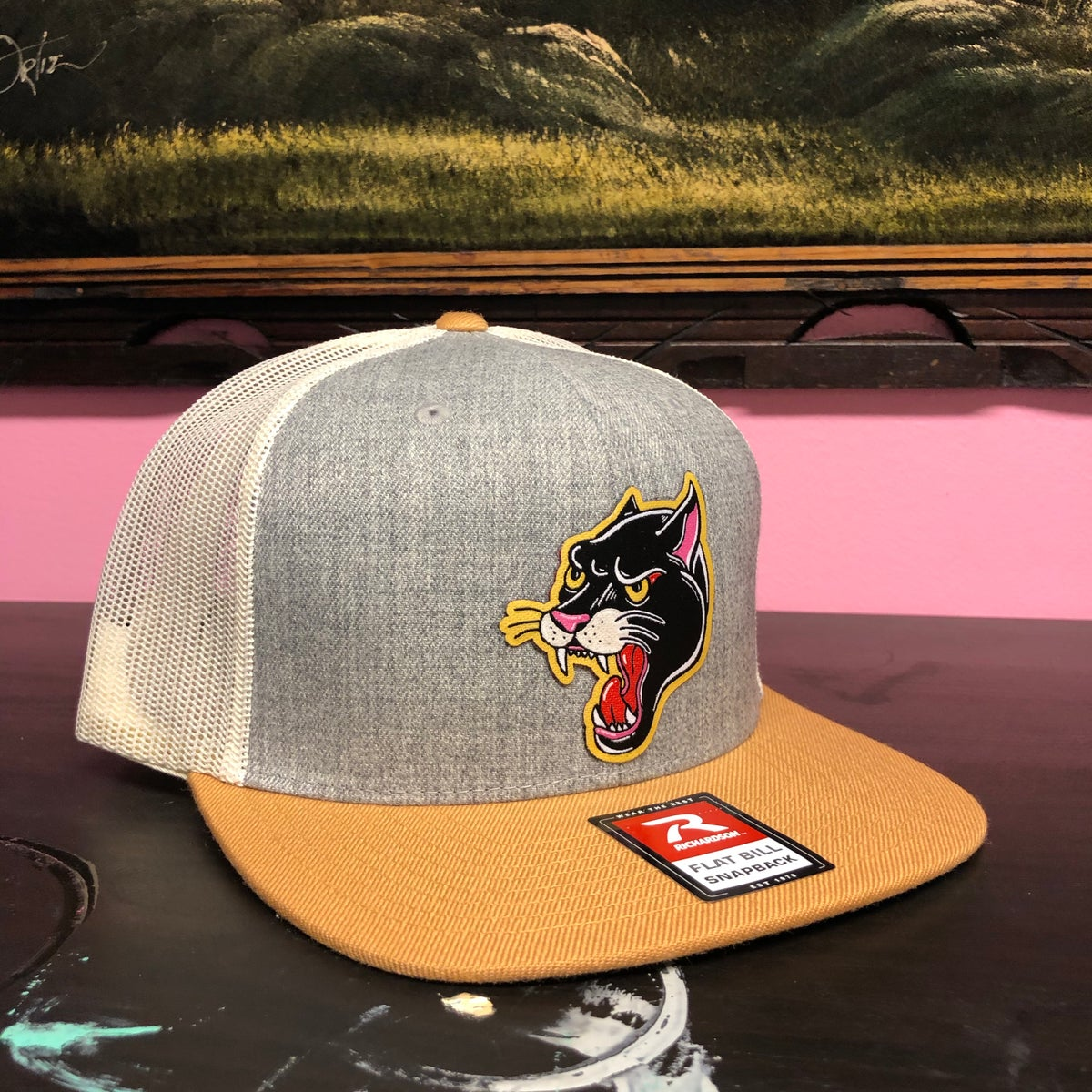 Image of Panther Hat- Heather Grey/ Birch