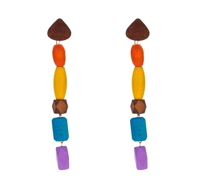 Image of SUNSET WOOD DANGLE - EARRINGS