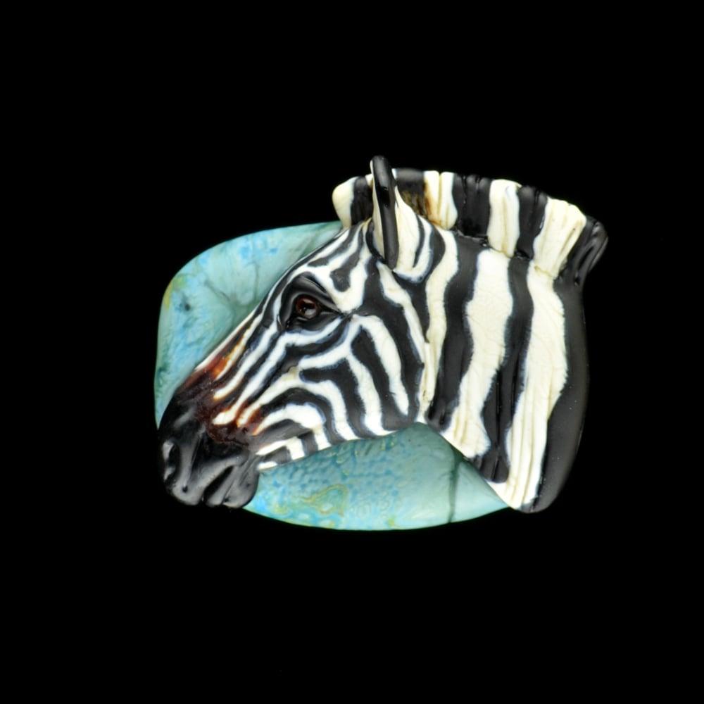 Image of XXL. Plains Zebra 1 - Flameworked Glass Sculpture Bead