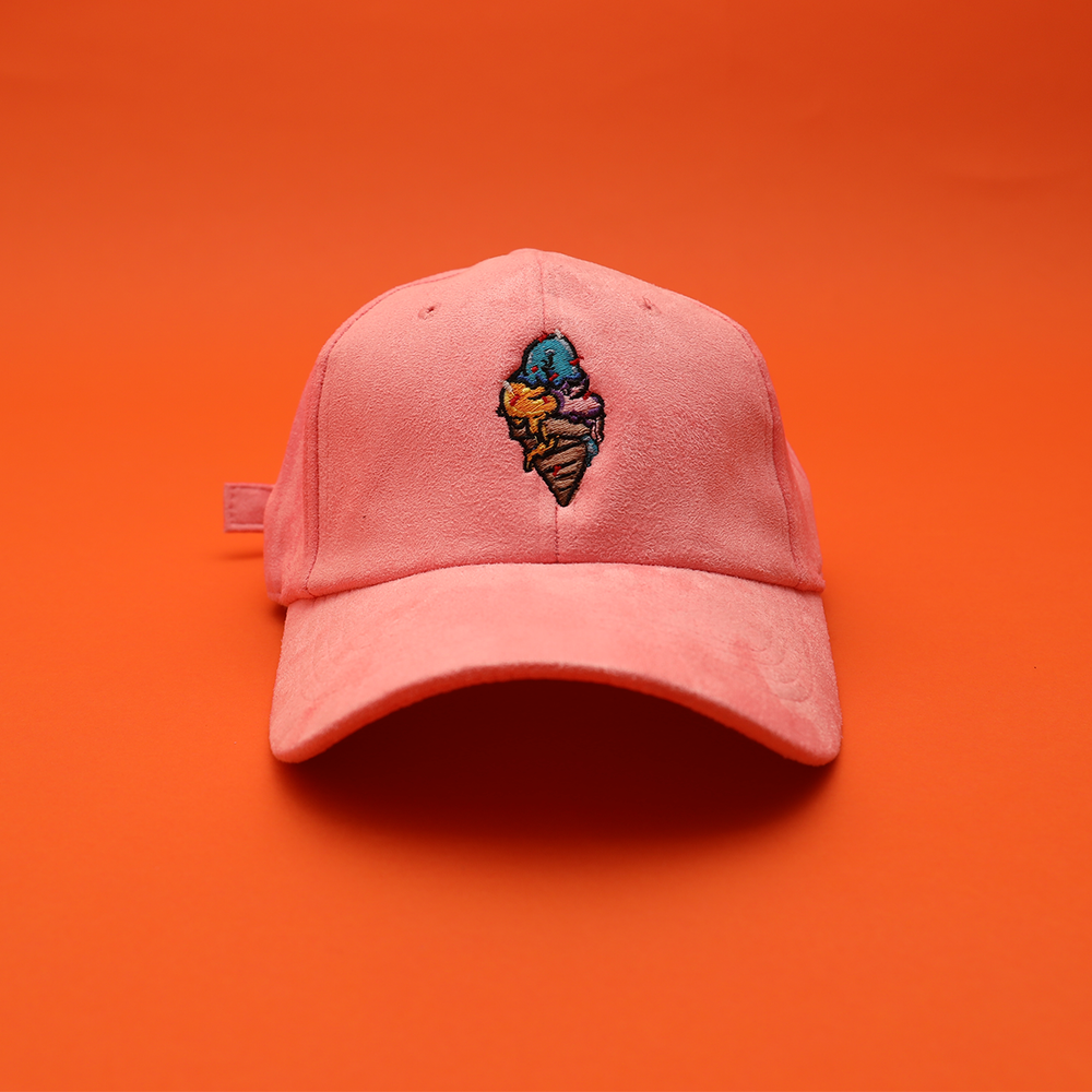 Image of ACE CREAM Suede Dad Hat - Strawberry