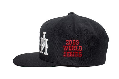 Image of Black 3 Peat NY Upside Down Snapback