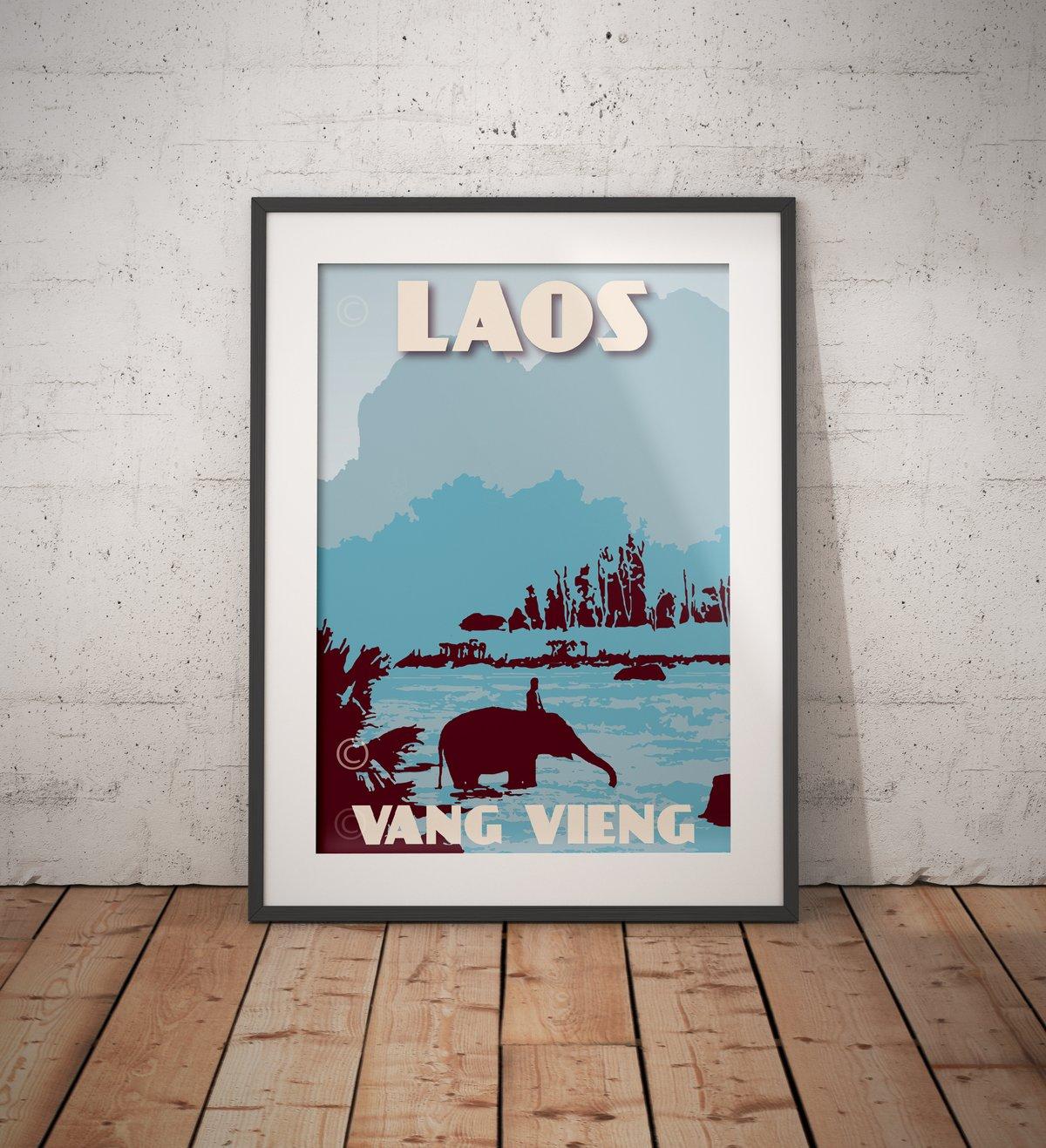 Image of Vintage poster Laos - VangVieng - Nam Song River - Fine Art Print - Blue