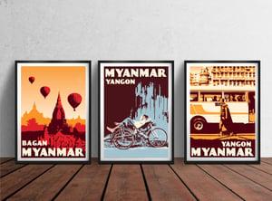 Image of Vintage Poster Myanmar Yangon - Monk walking - Fine Art Print