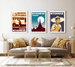 Image of Vintage poster Myanmar - Yangon -Shwedagon blue - Fine Art Print