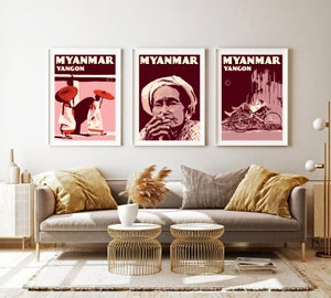 Image of Vintage poster Myanmar - Woman with cigar - Fine Art Print