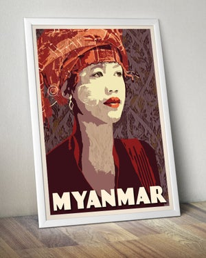 Image of Vintage poster Myanmar - Pao Woman with Thanakha - Fine Art Print