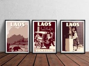 Image of Vintage poster Laos - Vientiane - Tuktuk - Fine Art Print - Purple