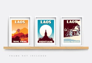 Image of Vintage poster Laos - Luang Prabang - Old citroen cars - Fine Art Print