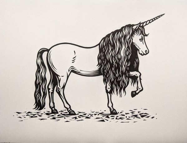 Image of Unicorn - original linocut print