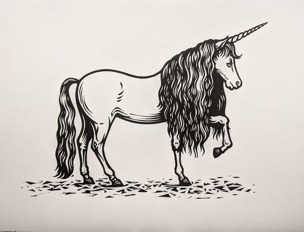 Image of Unicorn - original linocut print
