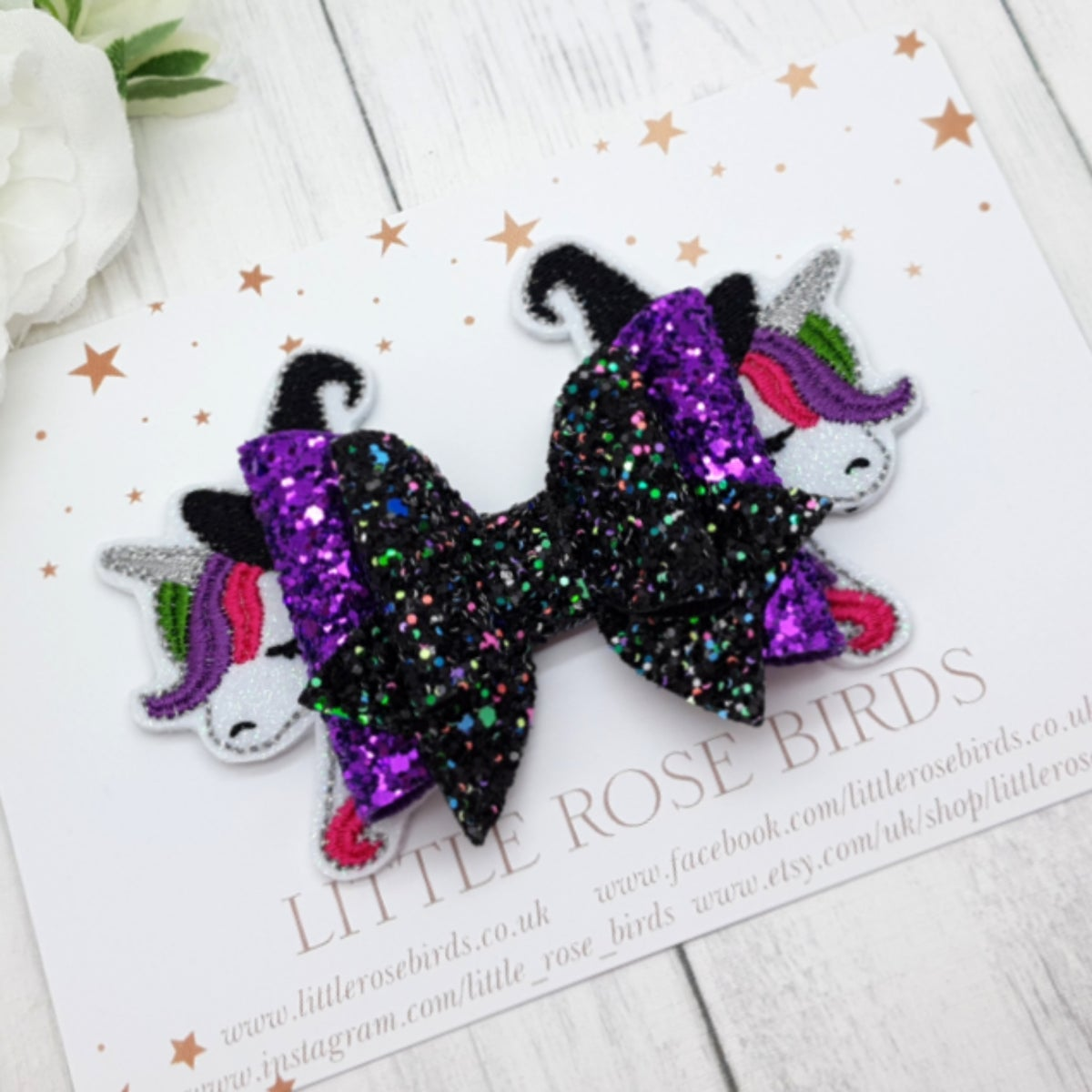Image of Halloween Unicorn Bow - Choice of Headband or Clip
