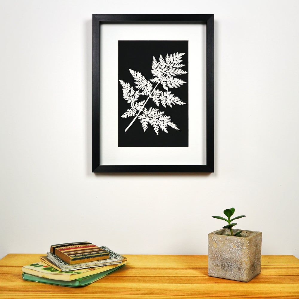 Image of Framed Woodcut Fern Leaf