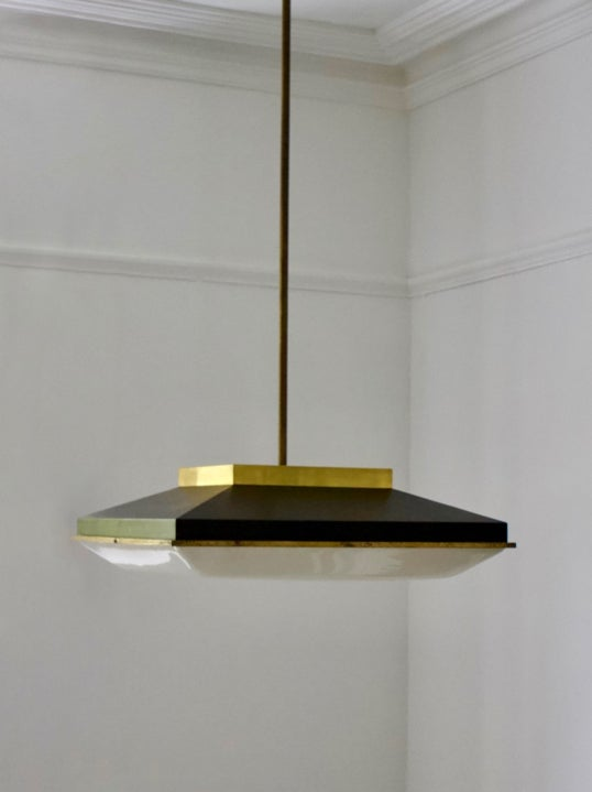 "Image of 25"" Square Ceiling Pendant attributed to Stilnovo, Italy"